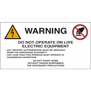 WARNING DO NOT OPERATE ON LIVE ELECTRIC